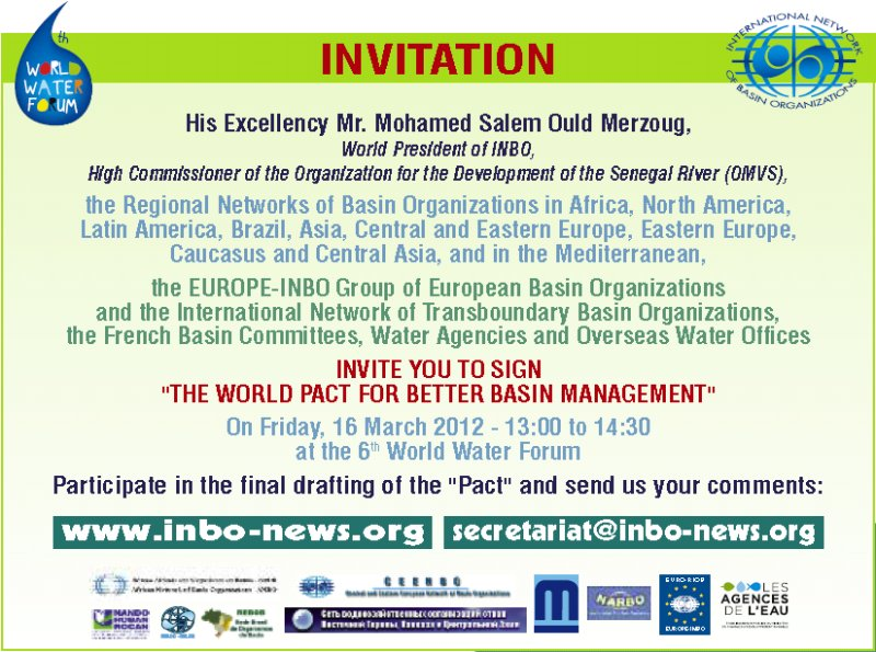 "Come and sign in Marseilles on 16 March 2012 at 13:00 the ""World Pact for better basin management"""